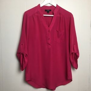 AGB Blouse Top Small Hot Pink V Neck 158